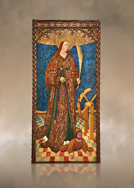 Gothic altarpiece of Saint Catarina (Catherine), 3rd quarter of the 15th century, tempera and gold leaf on for wood.  National Museum of Catalan Art, Barcelona, Spain, inv no: MNAC   114746-7. Against a art background.