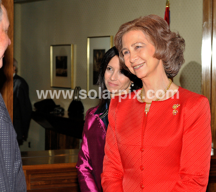 """**ALL ROUND PICTURES FROM SOLARPIX.COM**.**WORDLWIDE SYNDICATION RIGHTS EXCEPT FOR SPAIN**NO PUBLICATION IN SPAIN**.Queen Sofia of Spain was accompanied by her sister Princess Irene of Greece & the Spanish housing minister Beatriz Corredor to the prize giving at the Zarzuela Palace in Madrid.The Prize giving was in aid of The Foundation for """"Mundo En Armonia"""" -""""The World of Harmony"""" presented by HRH Irene of Greece.The Japanese painter Teruhiro Ando who lives in Toledo Spain was the first winner of the 35000 EUR prize..This pic...JOB REF:7933            PTG        DATE:17.11.08.**MUST CREDIT SOLARPIX.COM OR DOUBLE FEE WILL BE CHARGED* *UNDER NO CIRCUMSTANCES IS THIS IMAGE TO BE REPRODUCED FOR ANY ONLINE EDITION WITHOUT PRIOR PERMISSION*"""