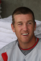 Todd Frazier of the Carolina Mudcats in the dugout before an exhibition game against  the Cincinnati Reds on April 3, 2009 at Five County Stadium in Zebulon, NC