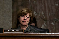 Senator Tammy Baldwin, Democrat of Wisconsin, listens to testimony from a witness during a Senate Commerce Committee hearing on Capitol Hill in Washington, DC on February 6, 2019. Photo Credit: Alex Edelman/CNP/AdMedia