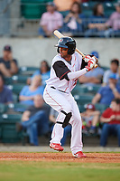 Arkansas Travelers shortstop Joey Wong (21) at bat during a game against the Midland RockHounds on May 25, 2017 at Dickey-Stephens Park in Little Rock, Arkansas.  Midland defeated Arkansas 8-1.  (Mike Janes/Four Seam Images)