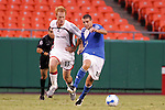 Aug 19 2007:  Jeff Larentowicz (13) of the Revolution pulls the jersey of Carlos Marinelli (10) of the Wizards.  The MLS Kansas City Wizards were defeated by the visiting New England Revolution 0-1 at Arrowhead Stadium in Kansas City, Missouri, in a regular season league soccer match.