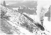 D&amp;RGW #492 with empties coming up the Garfield switchback.<br /> D&amp;RGW  Garfield, CO  Taken by Richardson, Robert W. - 1/28/1949
