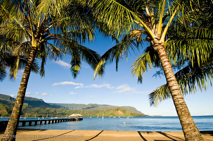 Early morning at Hanalei pier in September, no one around….rare!