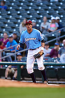 NW Arkansas Naturals first baseman Alex Liddi (22) waits for a throw during a game against the San Antonio Missions on May 30, 2015 at Arvest Ballpark in Springdale, Arkansas.  San Antonio defeated NW Arkansas 5-2.  (Mike Janes/Four Seam Images)