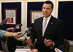 Nevada Gov. Brian Sandoval answers media questoins following a special Legislative session in Carson City, Nev., on Tuesday, June 4, 2013. Sandoval called the special session after lawmakers failed to get their work finished by the midnight duty. (AP Photo/Cathleen Allison)