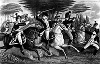 Col. (William Augustine) Washington at the Battle of Cowpens.  January 1781. Copy of print by S. H. Gimber.  (George Washington Bicentennial Commission)<br />Exact Date Shot Unknown<br />NARA FILE #:  148-GW-390<br />WAR & CONFLICT #:  42