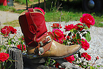 cowboy boot and red roses