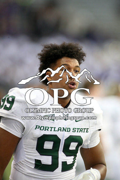 17 September 2016:   Portland State's Davond Dade against Washington. Washington defeated Portland State 41-3 at the University of Washington in Seattle, WA.