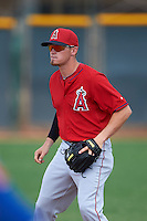 Los Angeles Angels Kody Eaves (8) during an instructional league game against the Texas Rangers on October 5, 2015 at the Surprise Stadium Training Complex in Surprise, Arizona.  (Mike Janes/Four Seam Images)