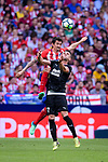 Stefan Savic of Atletico de Madrid (L) fights for the ball with Ander Capa Rodriguez of SD Eibar (R) during the La Liga match between Atletico Madrid and Eibar at Wanda Metropolitano Stadium on May 20, 2018 in Madrid, Spain. Photo by Diego Souto / Power Sport Images