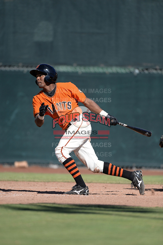 San Francisco Giants infielder Rando Moreno (16) during an instructional league game against the Arizona Diamondbacks on October 3, 2013 at Giants Baseball Complex in Scottsdale, Arizona.  (Mike Janes/Four Seam Images)
