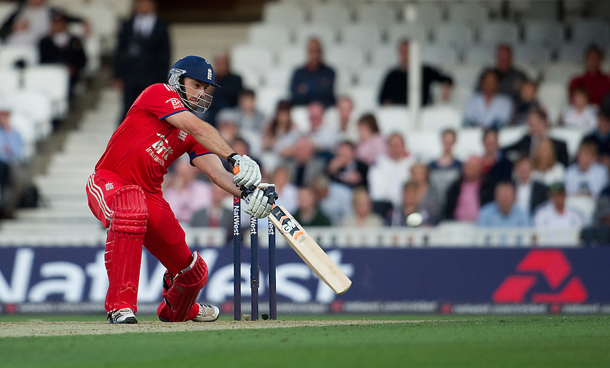 England's Michael Lumb square drives against New Zealand in the T20<br /> <br />  (Photo by Ashley Western/CameraSport) <br /> <br /> International Cricket - NatWest International T20 Series - England v New  Zealand - Tuesday 25th June 2013 - The Kia Oval, London <br /> <br />  &copy; CameraSport - 43 Linden Ave. Countesthorpe. Leicester. England. LE8 5PG - Tel: +44 (0) 116 277 4147 - admin@camerasport.com - www.camerasport.com