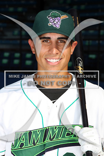 Jamestown Jammers outfielder Ryan Fisher (36) poses for a photo before a game vs. the Staten Island Yankees at Russell Diethrick Park in Jamestown Jammers, New York July 15, 2010.   Jamestown defeated Staten Island 5-1.  Photo By Mike Janes/Four Seam Images