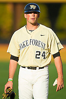 Charlie Morgan (24) of the Wake Forest Demon Deacons prior to the game against the North Carolina State Wolfpack at Wake Forest Baseball Park on March 15, 2013 in Winston-Salem, North Carolina.  The Wolfpack defeated the Demon Deacons 12-6.  (Brian Westerholt/Four Seam Images)