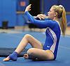 Patricia Clune of Long Beach performs her floor routine during a Nassau County varsity gymnastics meet against Massapequa at Long Beach High School in Lido Beach on Thursday, Jan. 11, 2018.