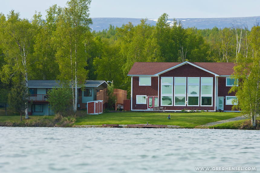 View of both Sarah Palin's lakefront home and the adjoining house into which writer Joe McGinniss has moved into while he works on his current book about Palin.