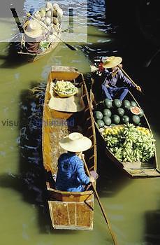 Thailand. Floating market on Klong Damnern Saduak in Ratchaburi Province, an hour's drive from Bangkok.