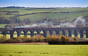 "09/11/14<br /> <br /> The Robin Hood special crosses the magnificent 82 arch Harringworth Viaduct, in Rutland. At 1,275 yards (1.166 km) long it is the longest masonry viaduct in Britain.<br /> <br /> The first public steam train to depart from London St. Pancras Station since the redeveloped terminus was reopened in 2007, is hauled by ex-LMSR Royal Scot class steam locomotive No. 46115 ""Scots Guardsman"".<br /> All Rights Reserved - F Stop Press.  www.fstoppress.com. Tel: +44 (0)1335 300098"