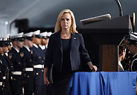 United States Secretary of Homeland Security Kirstjen Nielsen participates in the U.S. Coast Guard Change-of-Command Ceremony on June 1, 2018 at the U.S. Coast Guard Headquarters in Washington, DC. <br /> CAP/MPI/RS<br /> &copy;RS/MPI/Capital Pictures