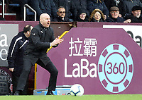 Burnley manager Sean Dyche shouts instructions to his team from the dug-out <br /> <br /> Photographer Rich Linley/CameraSport<br /> <br /> The Premier League - Burnley v Leicester City - Saturday 16th March 2019 - Turf Moor - Burnley<br /> <br /> World Copyright © 2019 CameraSport. All rights reserved. 43 Linden Ave. Countesthorpe. Leicester. England. LE8 5PG - Tel: +44 (0) 116 277 4147 - admin@camerasport.com - www.camerasport.com