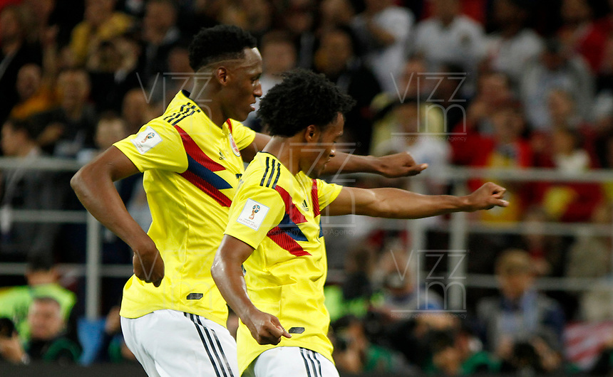 MOSCU - RUSIA, 03-07-2018: Yerry MINA (Izq) jugador de Colombia celebra después de anotar el primer gol de su equipo a Inglaterra durante partido de octavos de final por la Copa Mundial de la FIFA Rusia 2018 jugado en el estadio del Spartak en Moscú, Rusia. / Yerry MINA (L) player of Colombia celebrates after scoring the  first goal of his team to Inglaterra during match of the round of 16 for the FIFA World Cup Russia 2018 played at Spartak stadium in Moscow, Russia. Photo: VizzorImage / Julian Medina / Cont