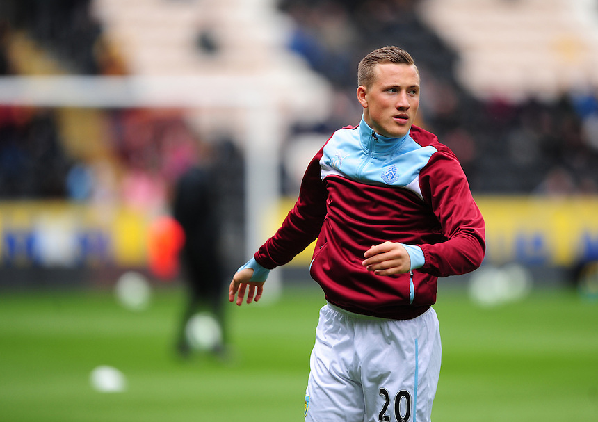 Burnley&rsquo;s Fredrik Ulvestad during the pre-match warm-up <br /> <br /> Photographer: Chris Vaughan/CameraSport<br /> <br /> Football - Barclays Premiership - Hull City v Burnley - Saturday 9th May 2015 - Kingston Communications Stadium - Hull<br /> <br /> &copy; CameraSport - 43 Linden Ave. Countesthorpe. Leicester. England. LE8 5PG - Tel: +44 (0) 116 277 4147 - admin@camerasport.com - www.camerasport.com