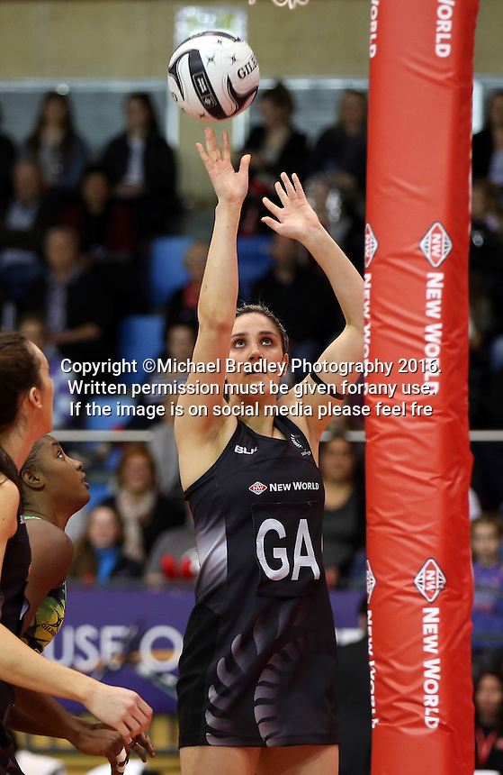 11.09.2016 Silver Ferns Te Paea Selby-Rickit in action during the Taini Jamison netball match between the Silver Ferns and Jamaica played at Trafalgar Centre in Nelson. Mandatory Photo Credit ©Michael Bradley.