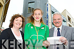 Catherine Coffey and George McSweeney presents a donation to r Kayleigh Cronin Killarney who will represent Ireland at the World Youth Championships in Donetsk, Ukraine this weekend