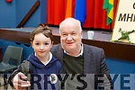 Attending the Grandparents day in Gaelscoil Mhic Easminn on Thursday morning last. L to r: Tadgh Lucey with his grandfather Jimmy Brown from Ballyheigue.