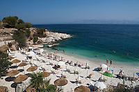 Greece, Corfu, Kassiopi: rocky cove on islands North West coast