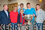 SAM MCGUIRE: Enjoying the visit of SAM to Kerins O'Rahillys clubhouse on Friday l-r: Richard Walsh, Ogie Moran, Josephine Gaffney, ********, Tommy Walsh and John Barry Walsh.