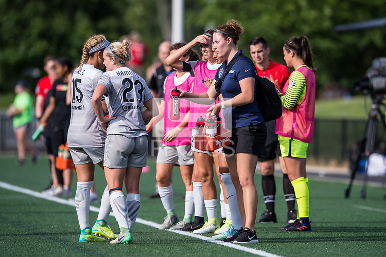 Boston, MA - Saturday June 24, 2017: North Carolina Courage in a water break during a regular season National Women's Soccer League (NWSL) match between the Boston Breakers and the North Carolina Courage at Jordan Field.