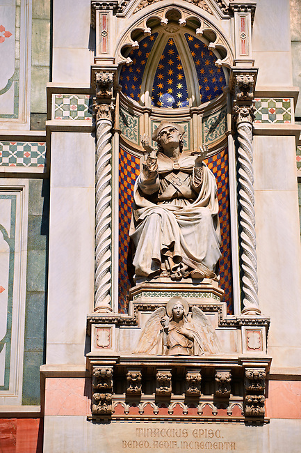Bishop Agostino Tinacci (Tinaccius Episc.), who blessed the first pilaster in 1357  on  the facade of  the Gothic-Renaissance Duomo of Florence,  Basilica of Saint Mary of the Flower; Firenza ( Basilica di Santa Maria del Fiore ).  Built between 1293 & 1436. Italy