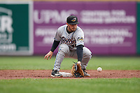 Akron RubberDucks second baseman Tyler Friis (38) catches a throw down during an Eastern League game against the Erie SeaWolves on June 2, 2019 at UPMC Park in Erie, Pennsylvania.  Akron defeated Erie 7-2 in the first game of a doubleheader.  (Mike Janes/Four Seam Images)