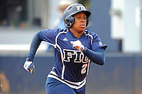 11 February 2012:  FIU's Ashley McClain (2) runs to first as the University of Massachusetts Minutewomen defeated the FIU Golden Panthers, 3-1, as part of the COMBAT Classic Tournament at the FIU Softball Complex in Miami, Florida.