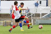 Joe Pearman scores the second goal for Romford - Romford vs Beaconsfield SYCOB - FA Cup Preliminary Round Football at Mill Field, Aveley FC - 29/08/10 - MANDATORY CREDIT: Gavin Ellis/TGSPHOTO - SELF-BILLING APPLIES WHERE APPROPRIATE. NO UNPAID USE. TEL: 0845 094 6026