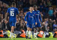 Michy Batshuayi of Chelsea celebrates his second goal with Eden Hazard & Kenedy of Chelsea during the Carabao Cup (Football League cup) 23rd round match between Chelsea and Nottingham Forest at Stamford Bridge, London, England on 20 September 2017. Photo by Andy Rowland.