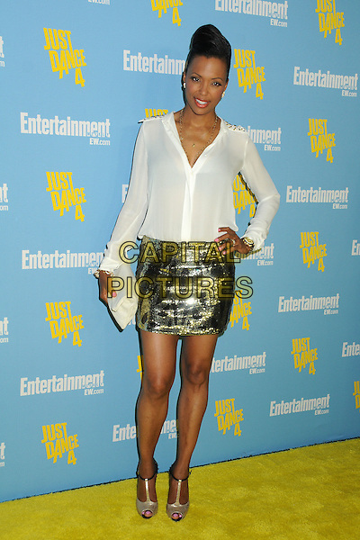 Aisha Tyler.Entertainment Weekly's Comic-Con 2012 Celebration held at the Hard Rock Hotel Float Lounge, San Diego, California, USA..July 14th, 2012.full length blouse skirt hand on hip clutch bag white top gold sequins sequined  .CAP/ADM/BP.©Byron Purvis/AdMedia/Capital Pictures.