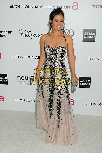 Danica McKellar.20th Annual Elton John Academy Awards Viewing Party held at West Hollywood Park, West Hollywood, California, USA..February 26th, 2012.full length black beige pink strapless dress beads beaded .CAP/ADM/BP.©Byron Purvis/AdMedia/Capital Pictures.