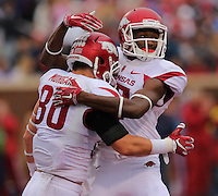 11/7/15<br /> Arkansas Democrat-Gazette/STEPHEN B. THORNTON<br /> Arkansas' Drew Morgan celebrates with teammate Dominique Reed after Morgan's  Arkansas' first touchdown against Ole Miss' during the first quarter of Saturday's game in Oxford, Miss.
