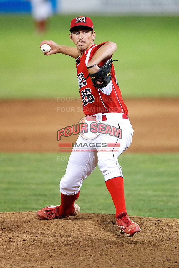 Batavia Muckdogs pitcher Brandon Creath #26 during a game against the Lowell Spinners at Dwyer Stadium on July 9, 2012 in Batavia, New York.  Batavia defeated Lowell 10-2.  (Mike Janes/Four Seam Images)