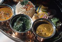 Essen: nicht vegetarisches Thali, Thali ist ein Menue mit mehreren Speisen und Sossen, Shimla (Himachal Pradesh), Indien