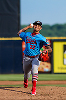 Peoria Chiefs pitcher Alvaro Seijas (22) delivers a pitch during a Midwest League game against the Quad Cities River Bandits on May 27, 2018 at Modern Woodmen Park in Davenport, Iowa. Quad Cities defeated Peoria 8-3. (Brad Krause/Four Seam Images)