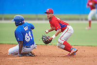 Philadelphia Phillies Grenny Cumana (12) looks to first after forcing out Kalik May (69) at second during an instructional league game against the Toronto Blue Jays on September 28, 2015 at Englebert Complex in Dunedin, Florida.  (Mike Janes/Four Seam Images)
