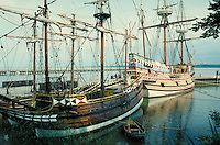 "scenic portrait of the ""Susan Constant"" and ""Godspeed"" at Jamestown Settlement historic site. Jamestown Virginia USA."