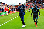 Stoke City 1 West Bromwich Albion 1, 24/09/2016. Bet365 Stadium, Premier League. Tony Pulis Head Coach of West Bromwich Albion celebrates the draw with Jonathan Leko of West Bromwich Albion. Photo by Paul Thompson.