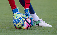 The UHL Sport Goalkeeping gloves ofGoalkeeper Nathan Trott (West Ham United) of England U20 during the International friendly match between England U20 and Netherlands U20 at New Bucks Head, Telford, England on 31 August 2017. Photo by Andy Rowland.
