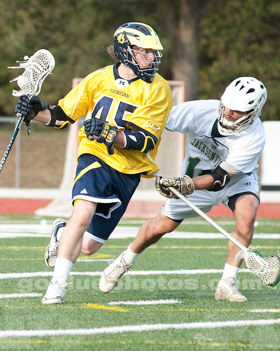 The University of Michigan men's lacrosse team lost to Jacksonville, 8-9 (OT), at D.B. Milne Field in Jacksonville, Fla., on March 2, 2012.