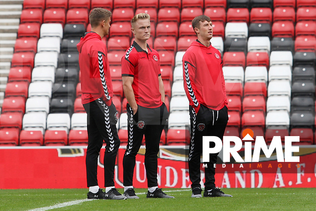 Fleetwood Town's Kyle Dempsey with team-mates before the Sky Bet League 1 match between Sunderland and Fleetwood Town at the Stadium Of Light, Sunderland, England on 8 September 2018. Photo by Stephen Hadlow/MI News & Sport/PRiME Media Images.